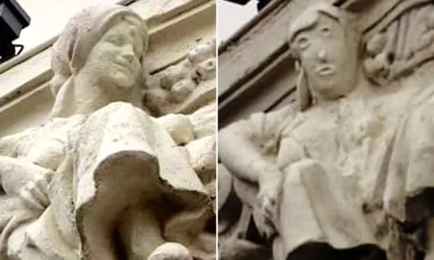 Before and after image comparison of stonework that was botched during restoration efforts