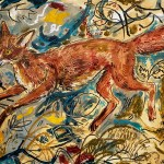 A bright collage of a fox with an abstract background by Mark Hearld Art World Roundup