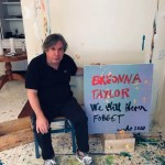 """George Condo sits next to his artwork to be included in """"Show Me the Signs"""""""
