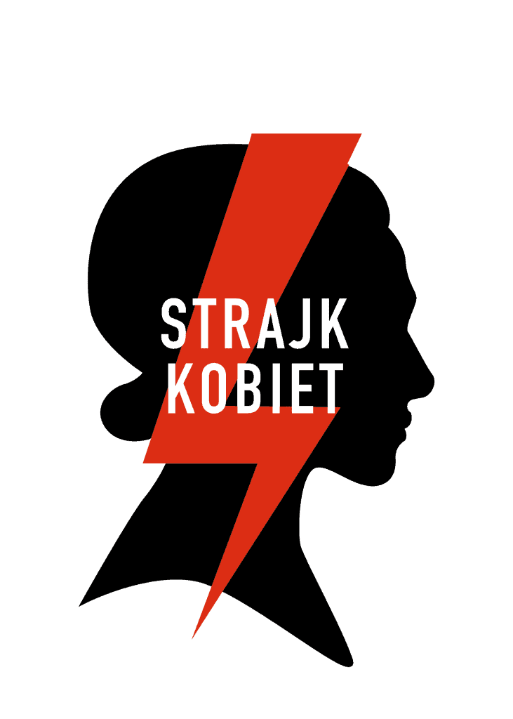 """Silhouette of woman with red lightning bolt reading """"Strajk Kobiet"""" by Ola Jasionowska Art world roundup"""