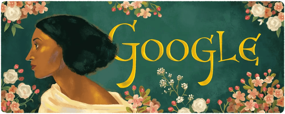 A Google Doodle featuring a profile illustration of Pre-Raphaelite model Fanny Eaton by Sophie Diao Art World Roundup