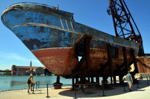 A shipwrecked boat made into an artwork by Christophe Büchel for the Venice Biennale