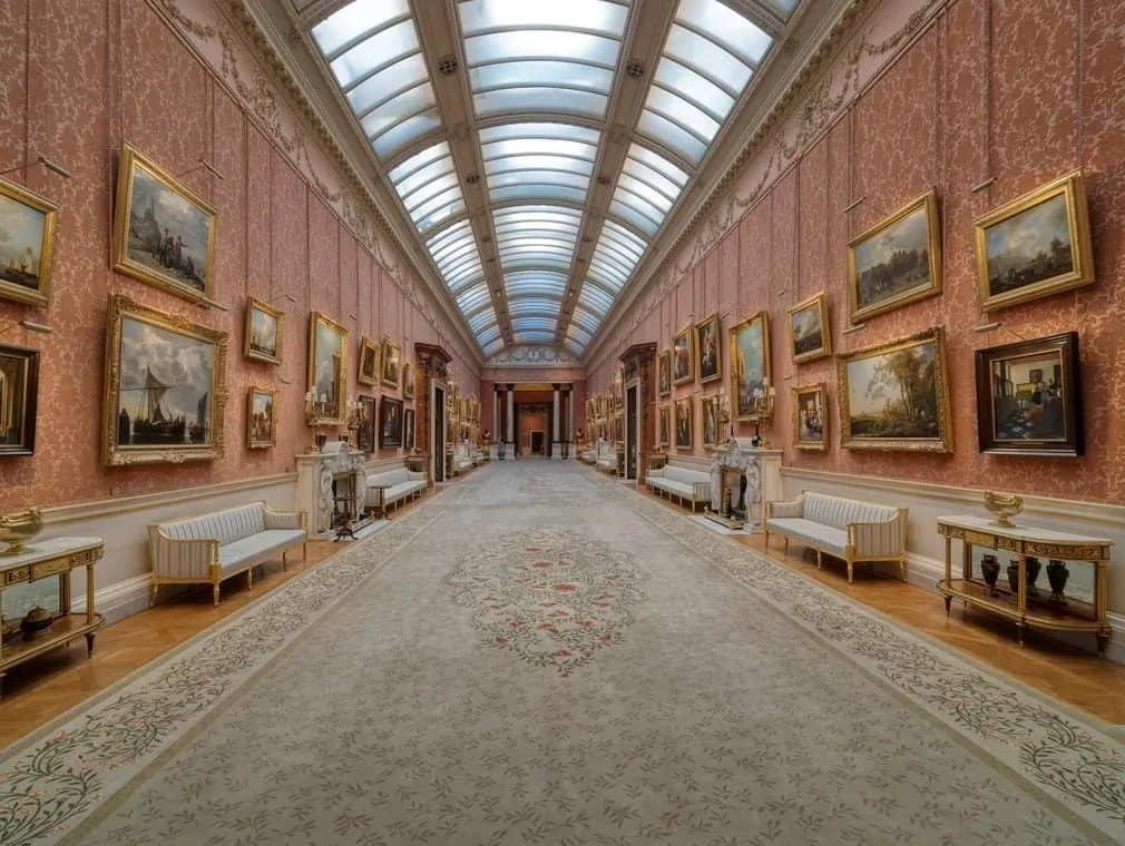 A long hall at Buckingham Palace known as the Picture Gallery Art World Roundup