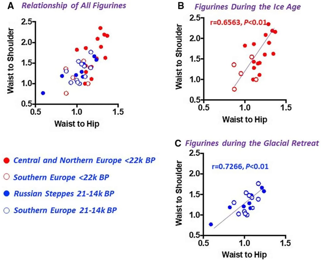 A series of graphs depicting the waist-to-hip and wasit-to-shoulder ratios among Venus figurines