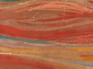 Detail photograph of a Edvard Munch's The Scream showing a sentence written by the artist