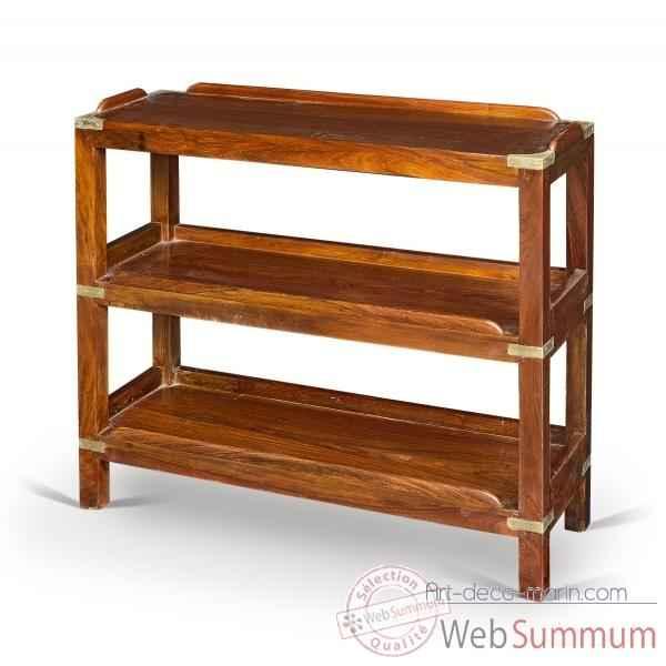 etagere basse en acajou trois plateaux avec renfort et ornement pour la marine en laiton massif meuble de navire drake