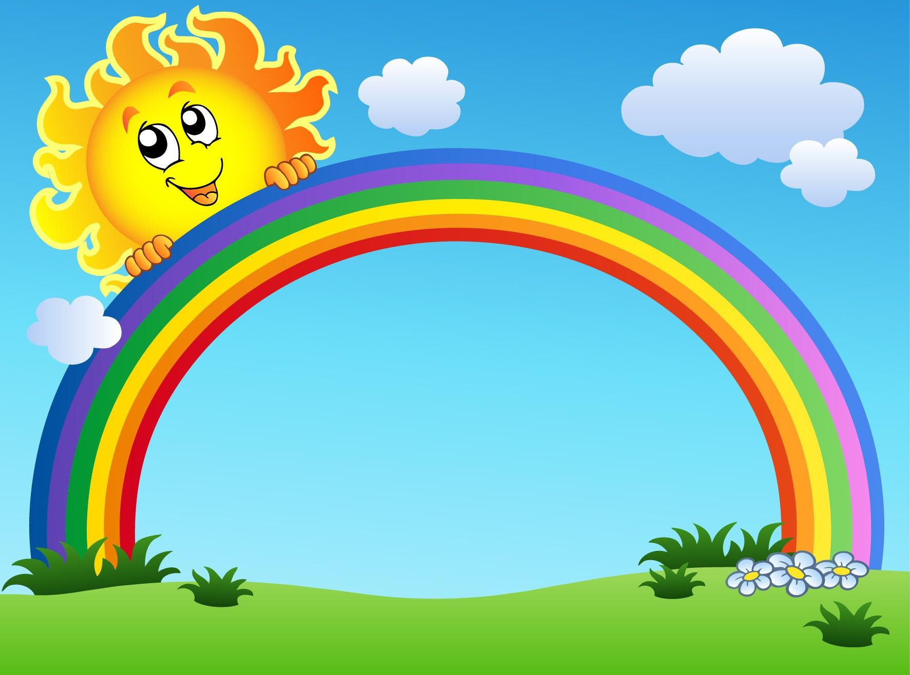 stickers enfant geant soleil arc en