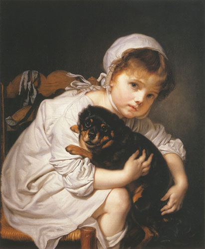 Jean Baptiste Greuze - child which plays with a dog