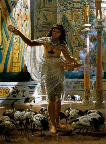 Sir Edward John Poynter - Feeding the Sacred Ibis in the Halls of Karnac