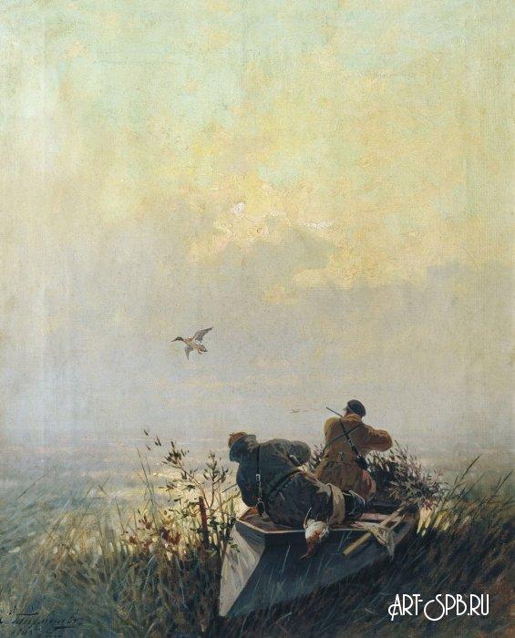 «Изображение охоты на диких уток. Евгений Тихменев» Охота ...