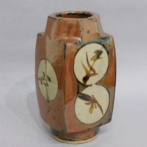 浜田庄司 柿釉丸紋方瓶