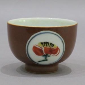 富本憲吉 柿釉染付茶碗