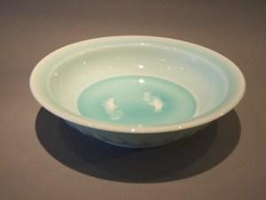 塚本快示 青磁双魚鉢