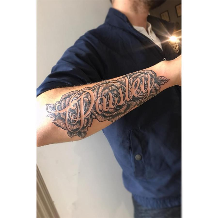 Forearm Name Cover Up Tattoos For Men