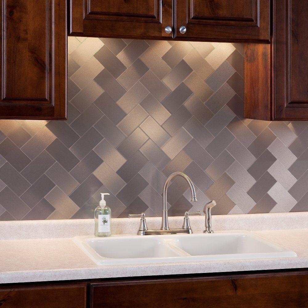 art3d 100 pieces peel and stick tile kitchen backsplash metal wall tiles brushed aluminium subway