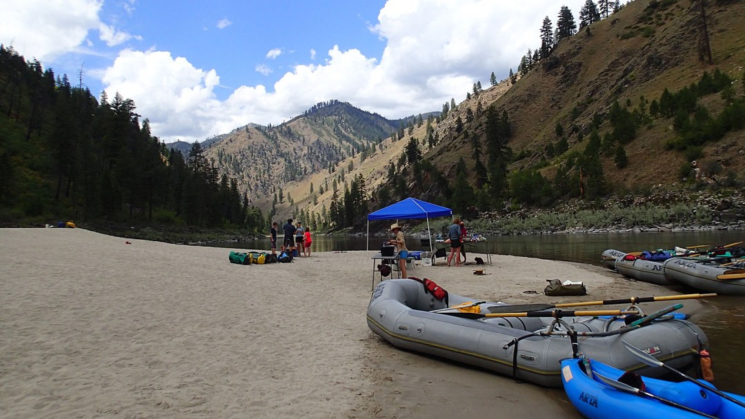 In camp during the Idaho Rowing School on the Main Salmon with ARTA River Trips
