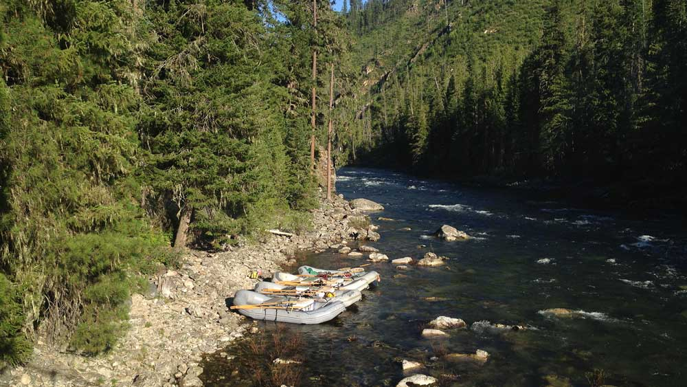 Rafts pulled in to shore along the Selway River in Idaho