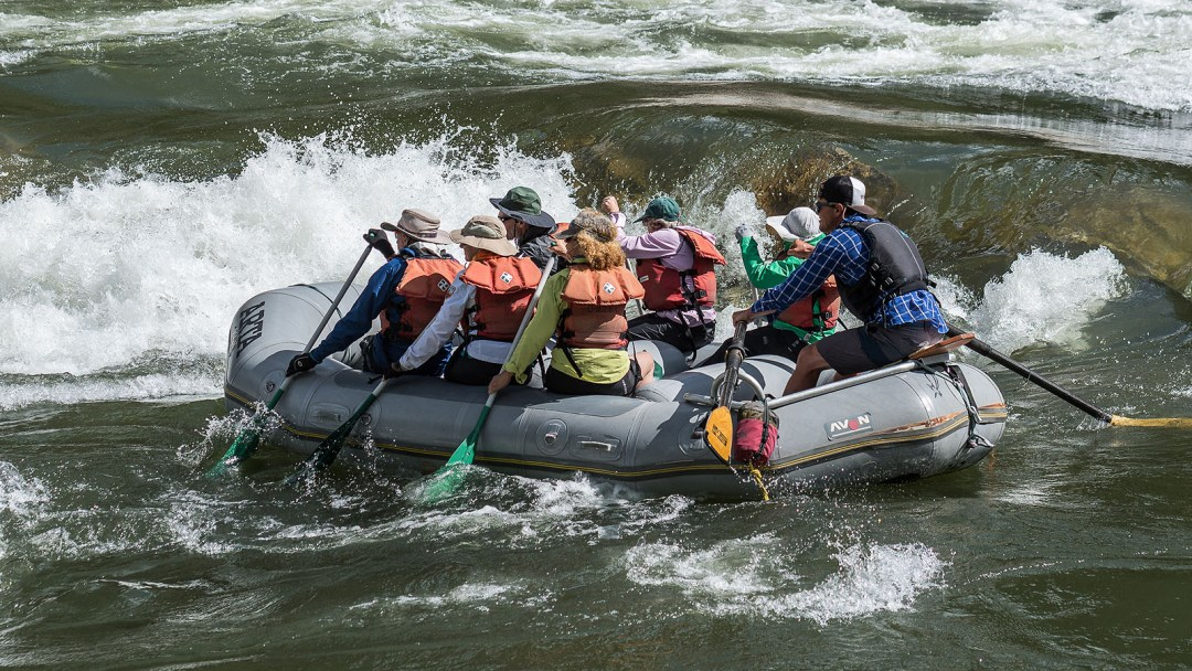 An oar-paddle combination raft enters Black Canyon Rapid on the Main Salmon River in Idaho