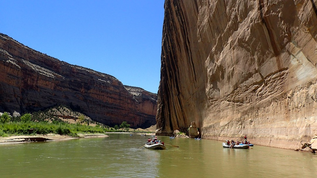 floating past Steamboat Rock on the Green River in Dinosaur National Monument
