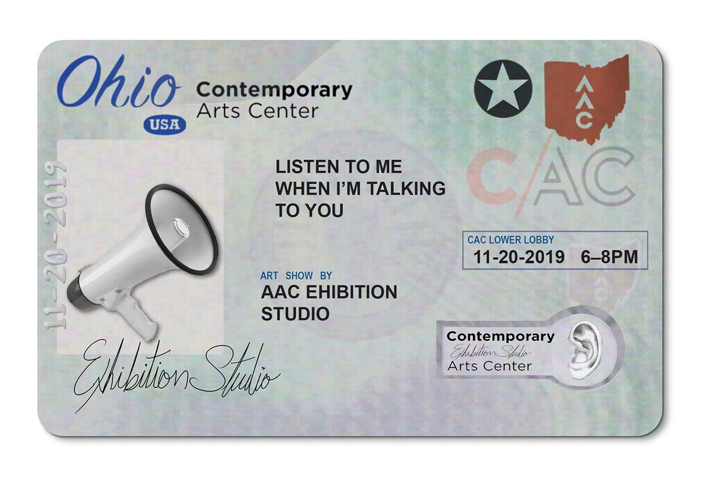 A picture of a Ohio drivers license. A megaohone is pictured where an image of the person would be. Information about the show is listed where a persons personal information would normally be.