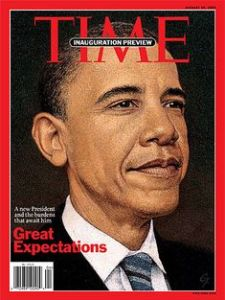 Illustration of President Obama on the covr of TIME magazine.