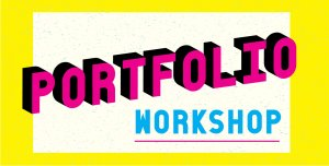 yellow and cyan graphic that say Portfolio Workshop