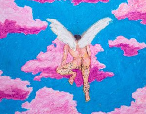 A picture of a painting by Caleb Francis. A man is in the clouds wih wings.