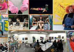 Colorful image of student in their studios making art.