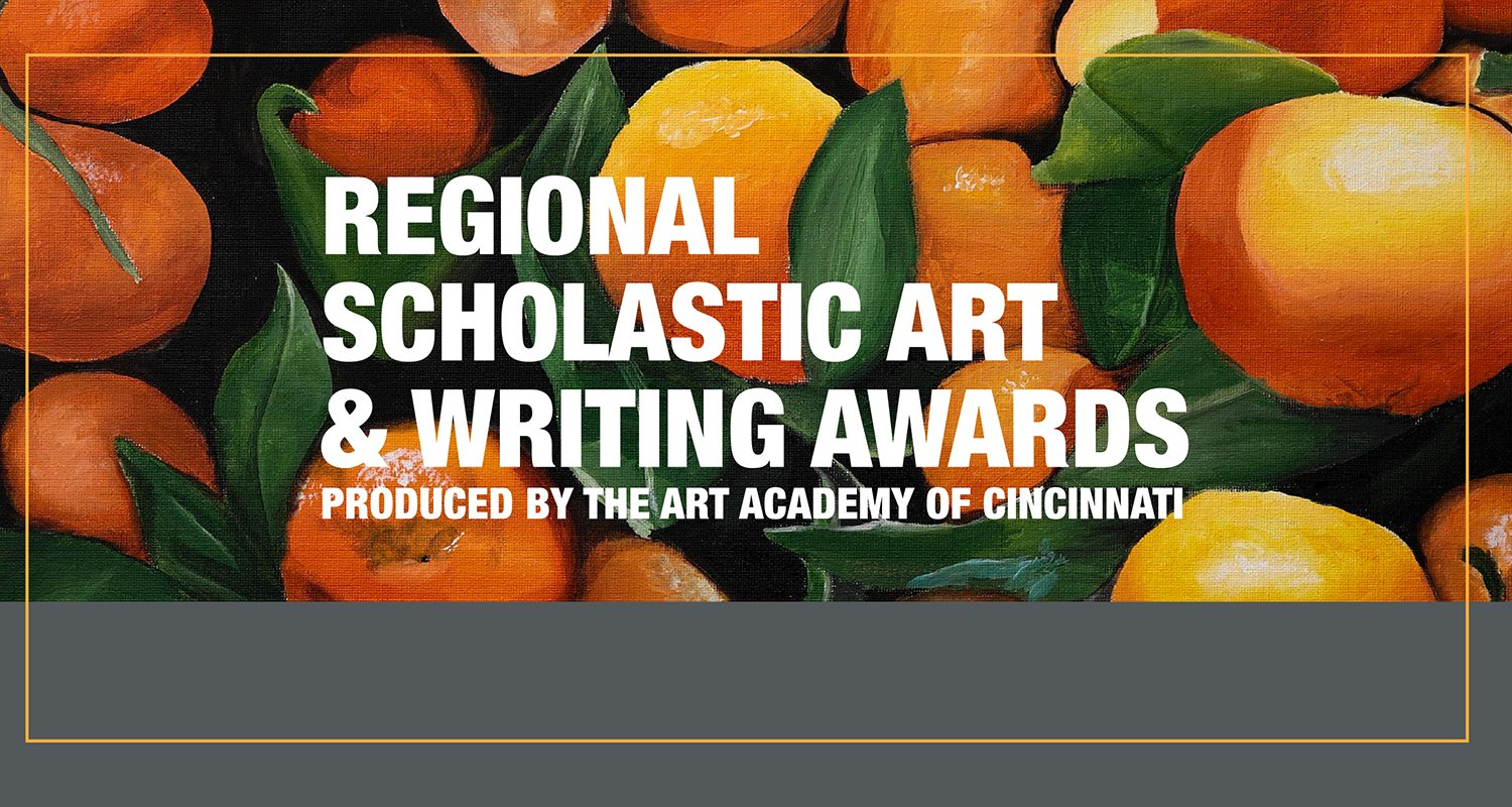 "A painting of oranges with the words ""Scholastic Art and Writing Awards"" over top in white."