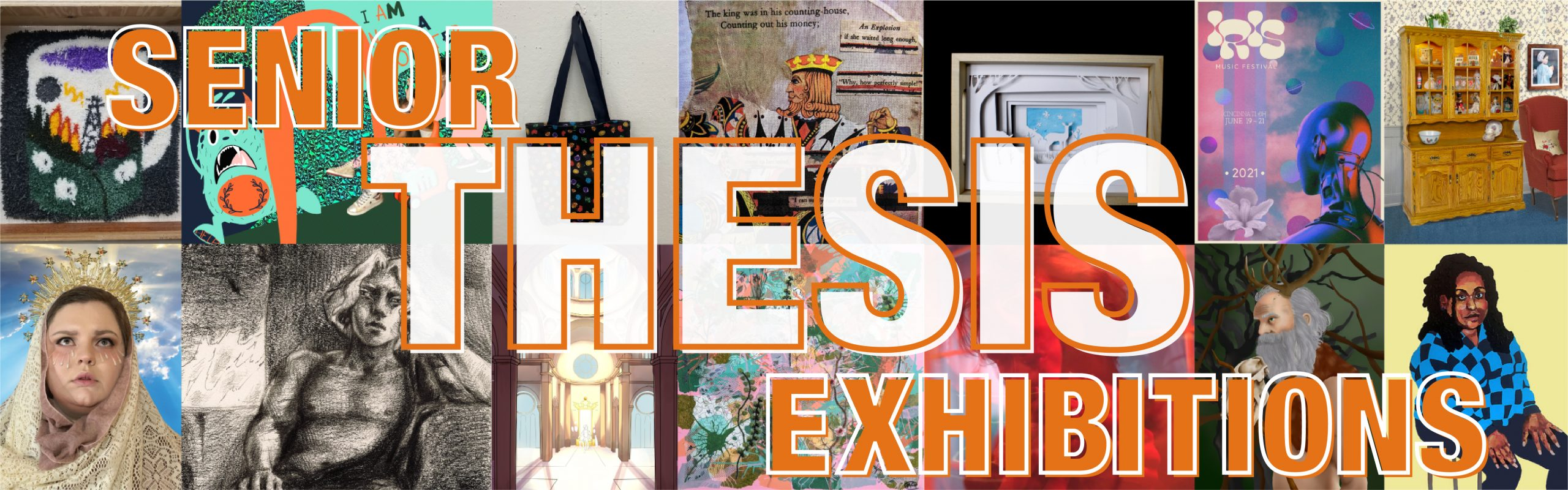 A collage of Thesis Exhibition work