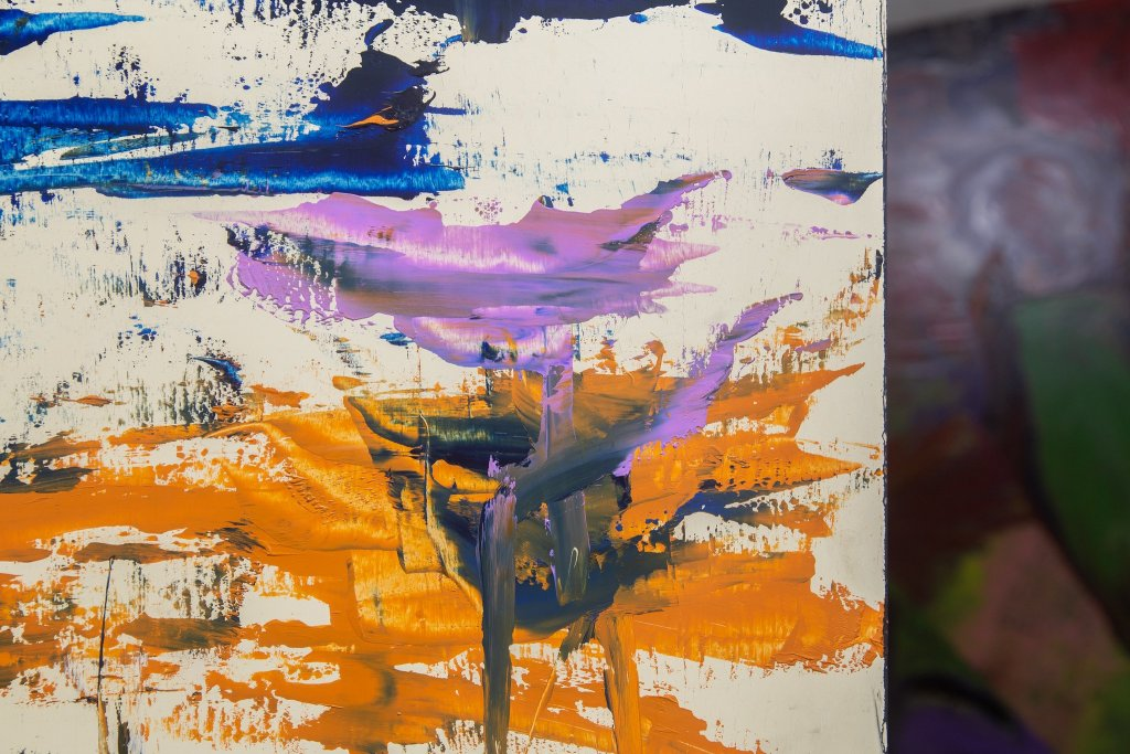 A close up photo of an abstract painting.