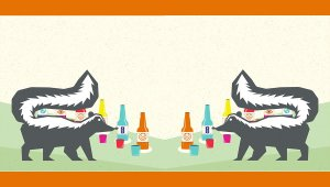 An illustration of two skunks facing each other with bottles of beer behind them.