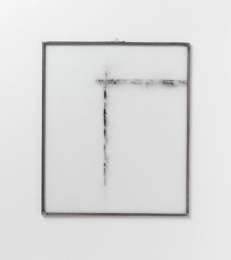 ArteFiera 2019 | Maria Elisabetta Novello: Archivio - Polvere 11, 2018 - fuliggine su pannelli di vetro, cornice in piombo, 40x34 cm | courtesy Galleria Anna Marra, Roma