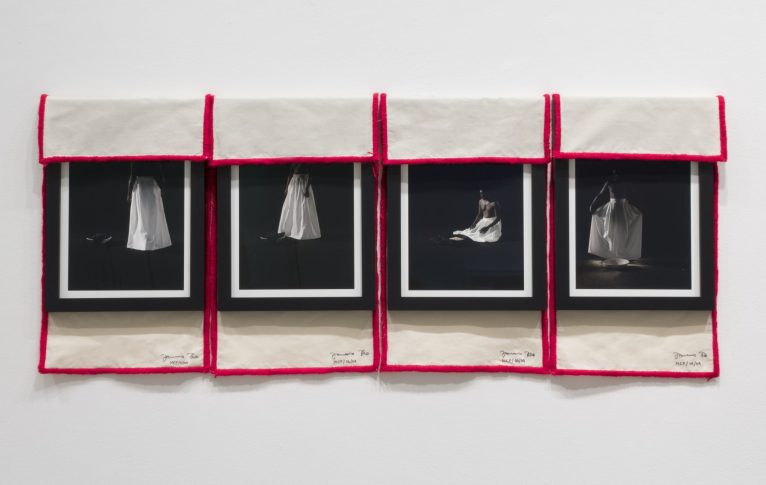 Januario Jano, Musseke, 2017. Photography and textile, Ink-jet on 100% cotton fine art paper rag and embroidery cloth, cm 45 x 32 each.