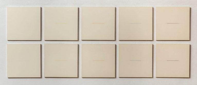 """SANDRO DE ALEXANDRIS, """"Continuo-variato in dieci tempi d'attuazione 1.10"""", 1970-71. Rilievo e incisioni su cartone Schoeller su tavola, dieci tavole 30x30 cm ciascuna, 60x150 cm totali - Courtesy Galleria 10 A.M. Art, Milano."""