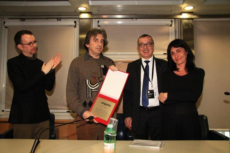 Premio ANGAMC 2019 | da sinistra: Simone Menegoi, Francesco Ribuffo, Mauro Stefanini, Elena Ribuffo