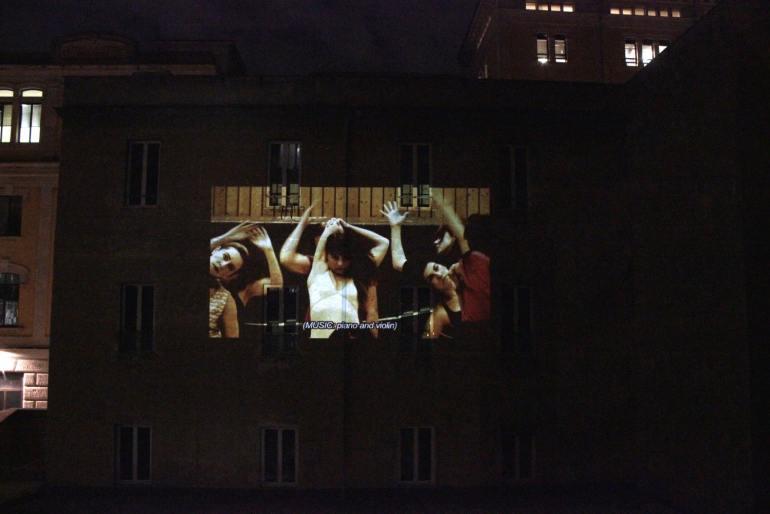 """Stabilimento Ostiense, 2020 - Marinella Senatore: Rosas, Act 1: """"Perfect Lives"""", 2012"""
