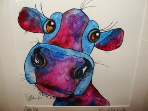 Close up of Silly Cow watercolour