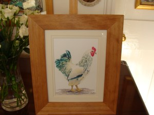 Watercolour study of a chicken