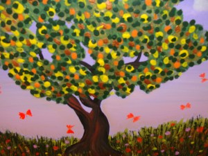 Close up of Tree and Butterflies acrylic