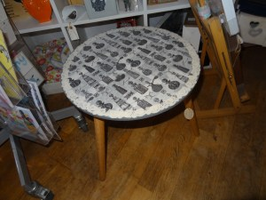 Unique small decoupage occasional table