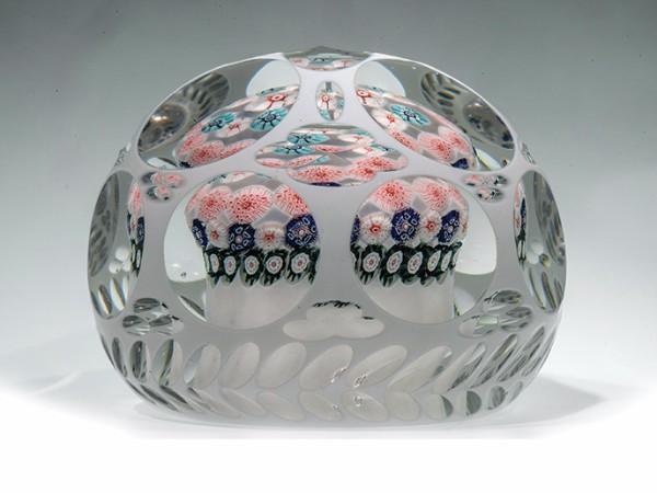 Paleta millefiori concéntrica con facetas, New England Glass Company