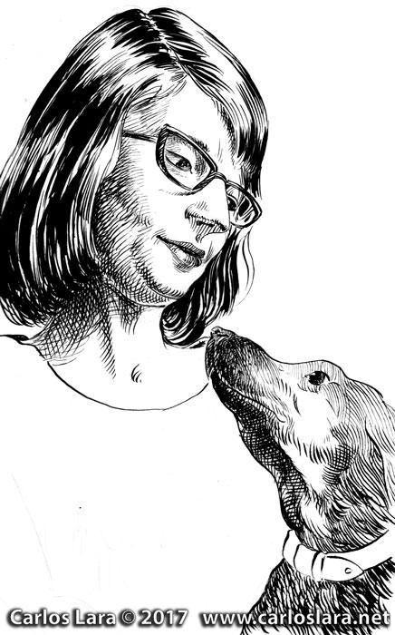Retrato de una chica con su perro - Tinta sobre papel