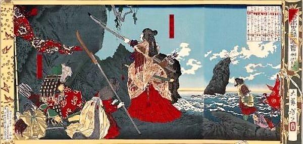 l'imperatrice jingū in un dipinto di yoshitoshi