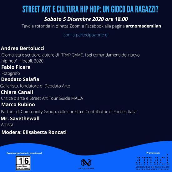 """Sabato 5 Dicembre 2020, alle ore 18.00 :""""STREET ART E CULTURA HIP HOP: UN GIOCO DA RAGAZZI?"""""""