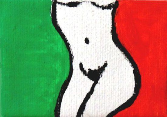 """Opera """"Bandiera Italiana""""del Laboratorio Saccardi."""
