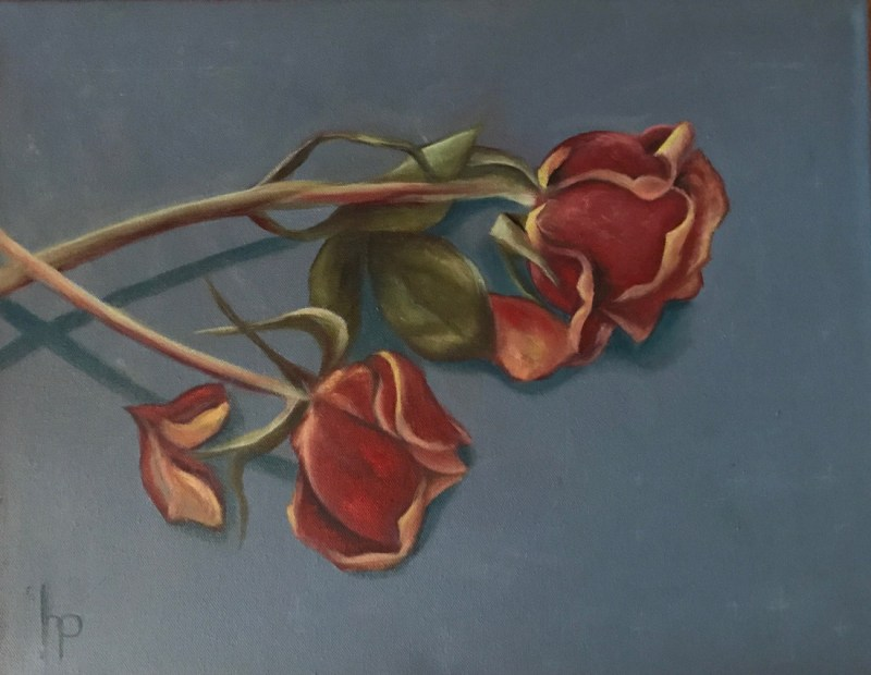 """""""Two Roses"""", Oil on Canvas, 14"""" x 18"""""""