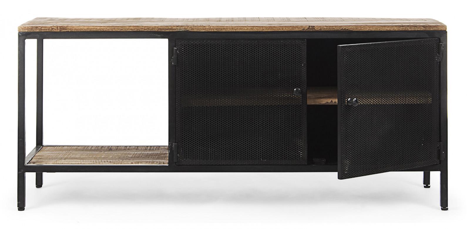 meuble tv metal et bois de manguier