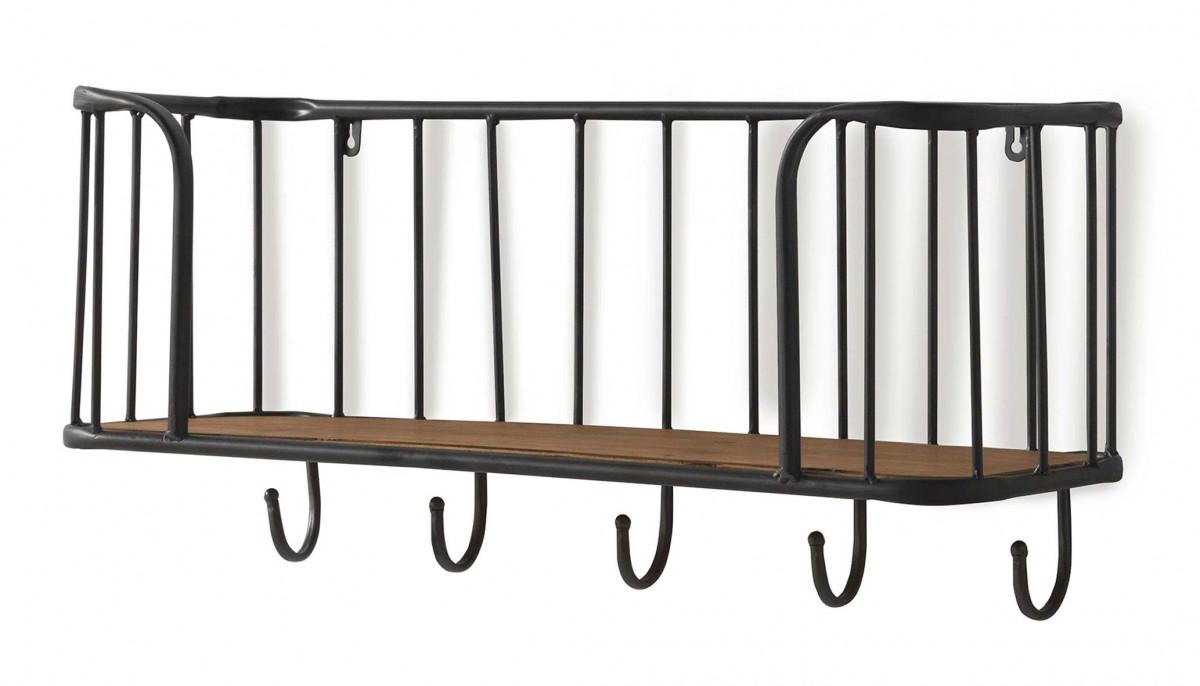 etagere d entree avec porte manteaux en metal et bois
