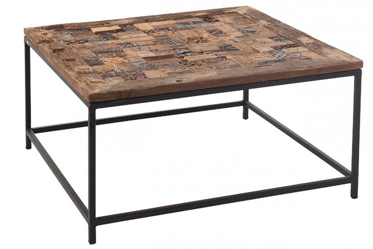 table basse mosaique de bois recycle sur metal